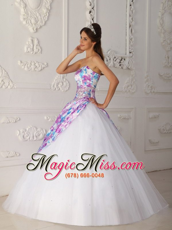 wholesale multi-color a-line sweetheart floor-length tulle appliques quinceanera dress