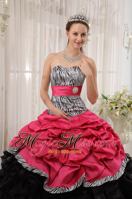 wholesale brand new red and black ball gown sweetheart floor-length quinceanera dress
