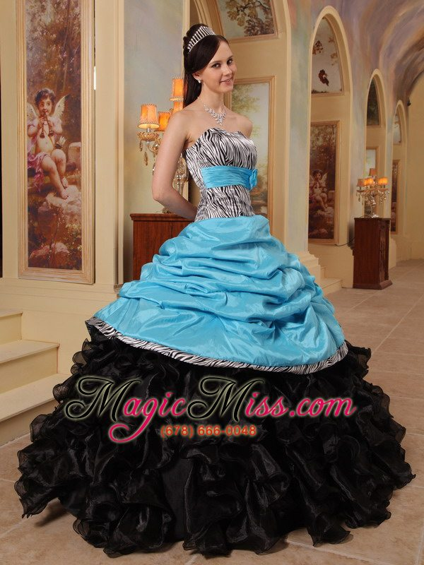 wholesale blue and black ball gown sweetheart floor-length ruffles taffeta and organza quinceanera dress