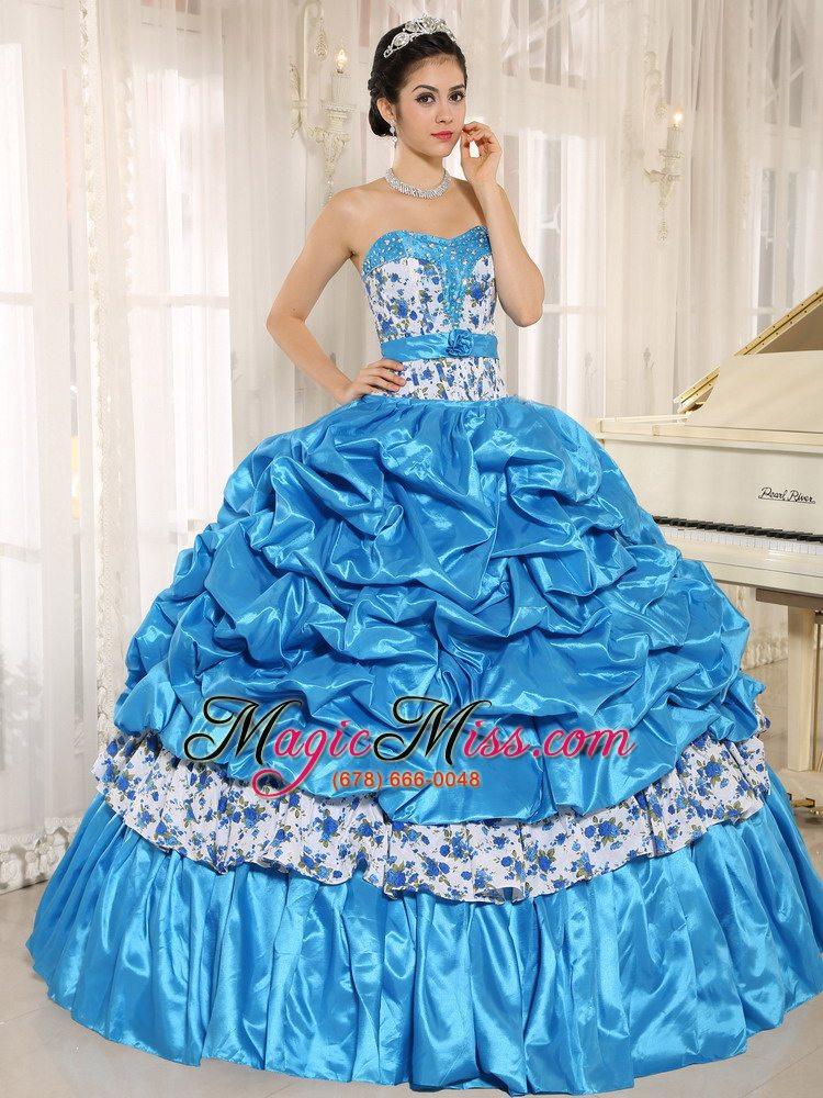 Beaded and Pick-ups For Aqua Blue Quinceanera Dress Taffeta and ...