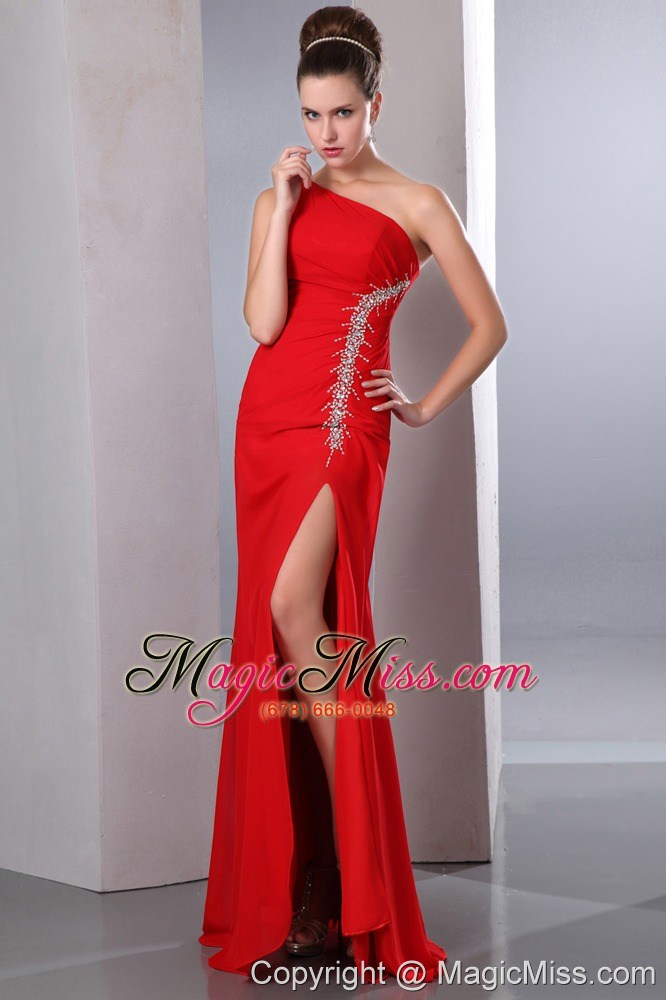Beautiful Red One Shoulder Chiffon Prom Dress With Silver