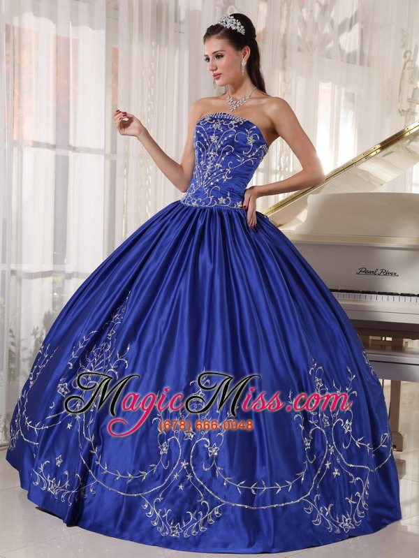 6f709dde45 wholesale blue ball gown strapless floor-length satin embroidery  quinceanera dress ...