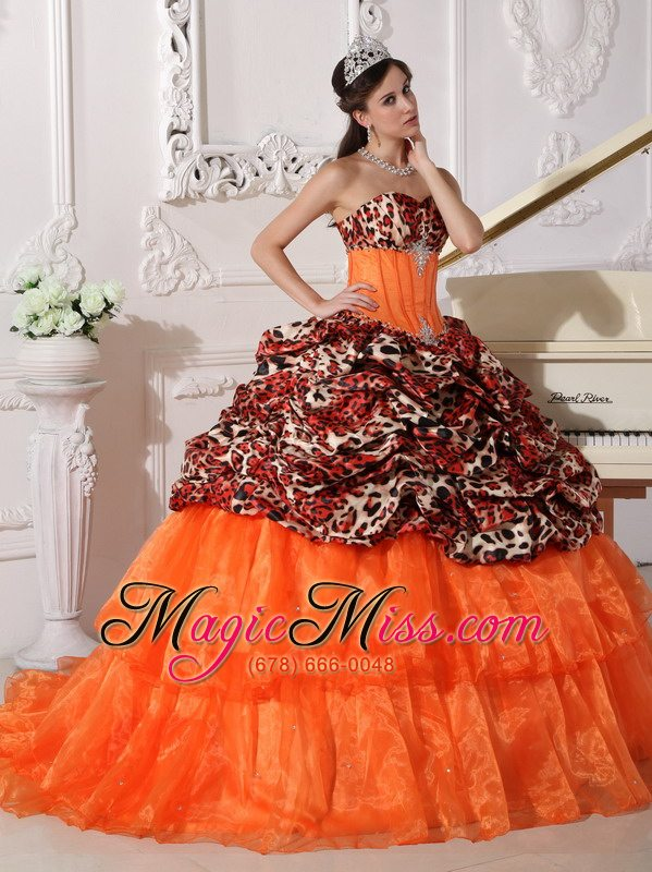 Orange Ball Gown Sweetheart Sweep / Brush Train Leopard and Organza ...
