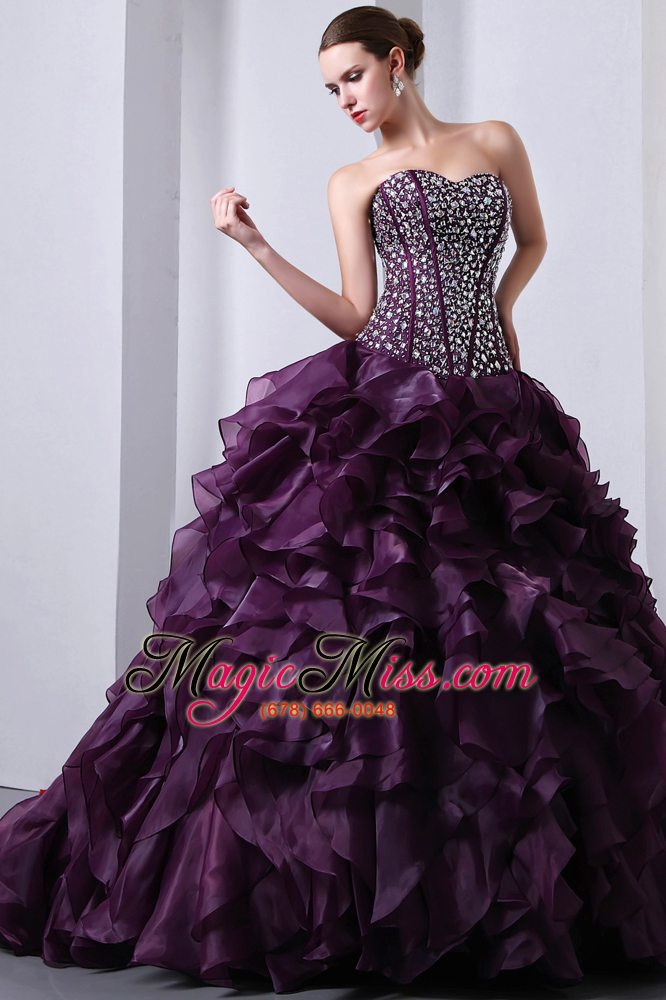 wholesale purple a-line / princess sweetheart brush train organza beading and ruffles quinceanea dress