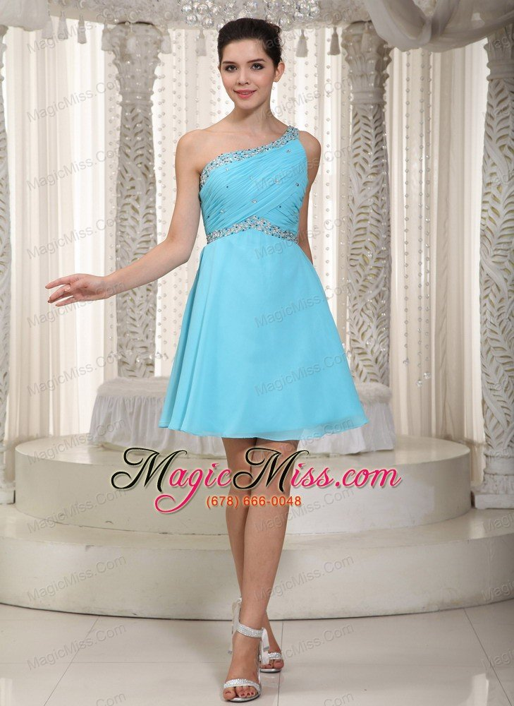 1 Shoulder Short Blue Prom Dress