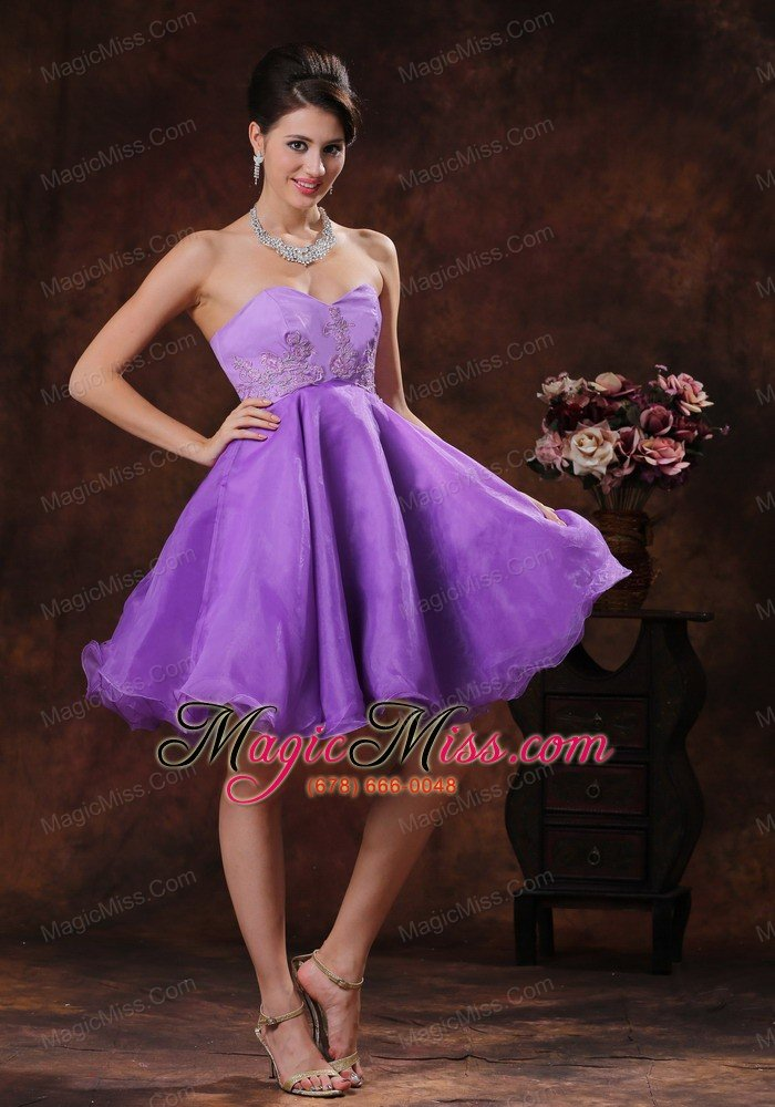 Sweetheart Lavender Short Prom Dress With Appliques Decorate Organza