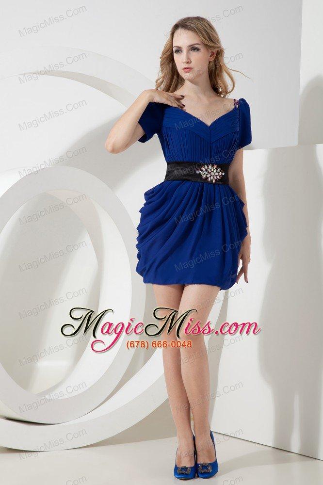Blue Column V-neck Beading Short Prom Dress Mini-length Chiffon - US ...