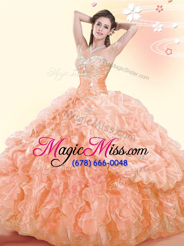 wholesale fashion floor length lace up ball gown prom dress orange and in for military ball and sweet 16 and quinceanera with beading and ruffles and pick ups
