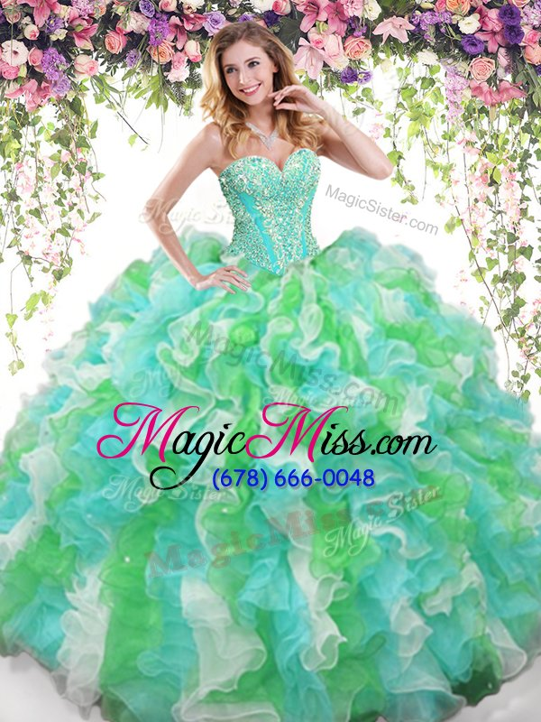 wholesale floor length multi-color 15 quinceanera dress organza sleeveless beading and ruffles