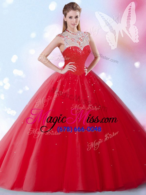 wholesale nice red sleeveless floor length beading and sequins zipper quinceanera dress