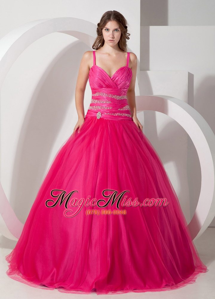 Hot Pink Ball Gown Spaghetti Straps Floor-length Tulle Beading ...
