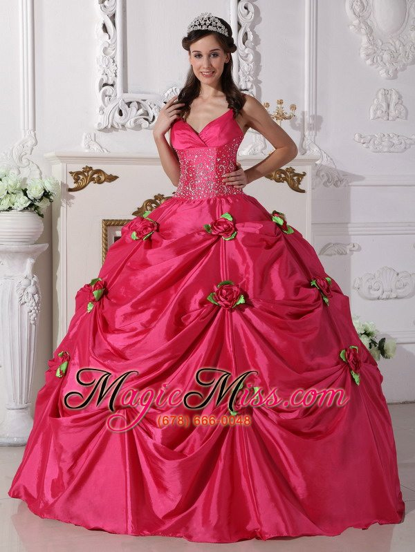 Hot Pink Ball Gown Spaghetti Straps Floor-length Taffeta Beading ...