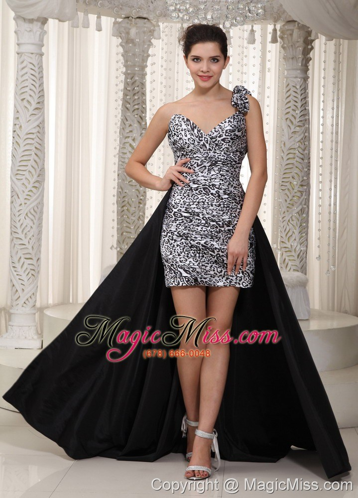 Black and white leopard prom dress