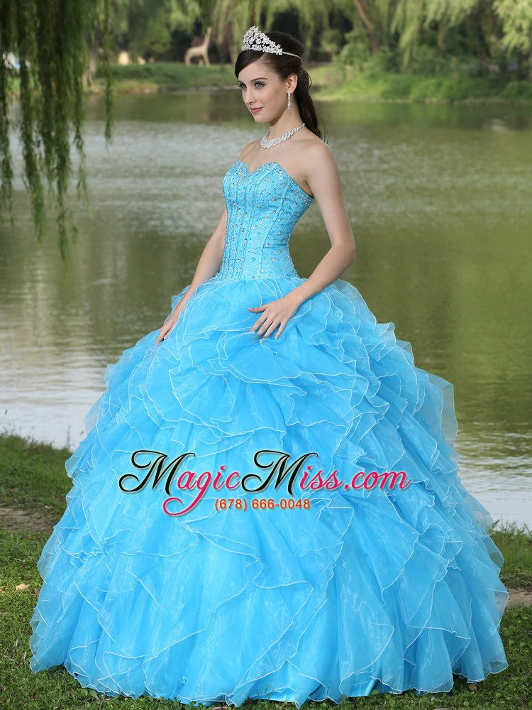 2cd2734e63c ... wholesale beaded ruffles layered decorate famous designer quinceanera  dress with sweetheart aqua skirt ...