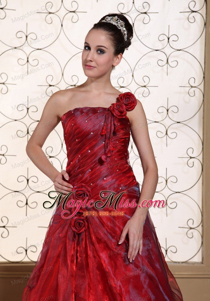 wine red one shoulder prom dress for 2013 aline gown hand