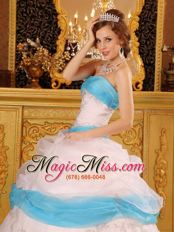wholesale perfect ball gown strapless floor-length appliques satin and organza white quinceanera dress