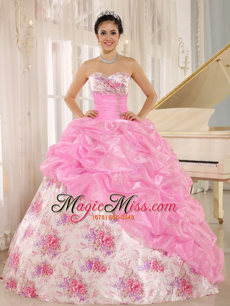 91a7266fbd1 wholesale printing sweetheart beaded and pick-ups for rose pink quinceanera  dress for custom made ...