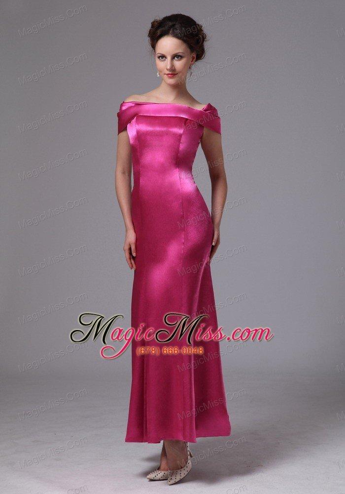 Hot Pink Off The Shoulder Ankle-length Mother Of The Bride Dress For ...