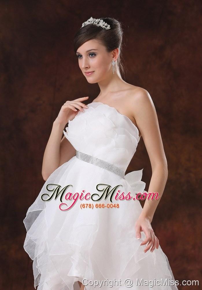 Beaded decorate waist strapless organza high low wedding for Low waist wedding dress