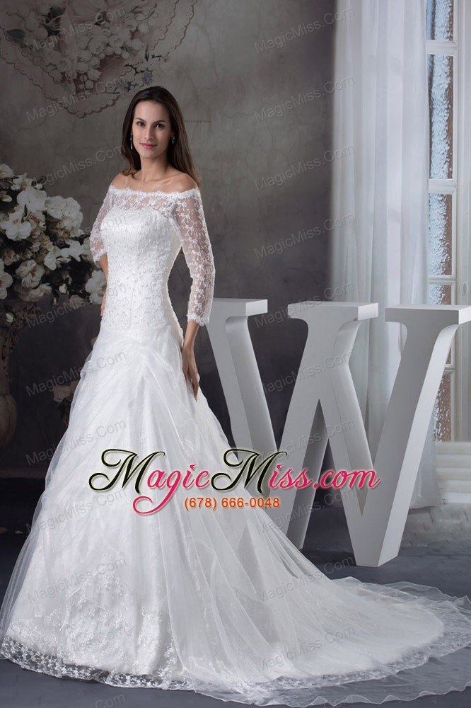 Wedding Dresses   Us : Off the shoulder sleeves lace a line wedding dress