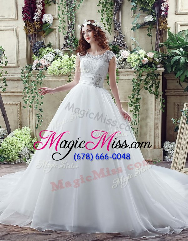wholesale cheap white wedding dress wedding party and for with beading and lace scalloped sleeveless court train zipper