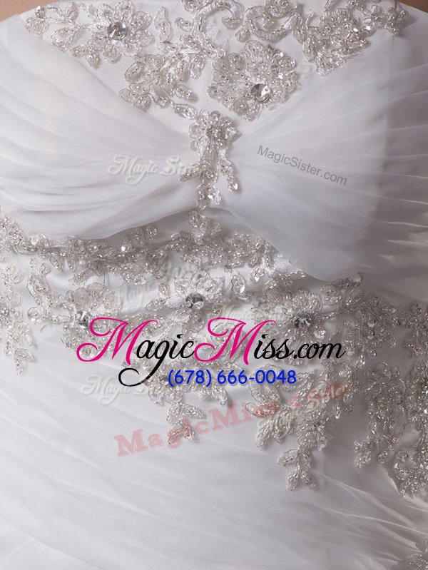 wholesale charming white bridal gown strapless sleeveless brush train lace up