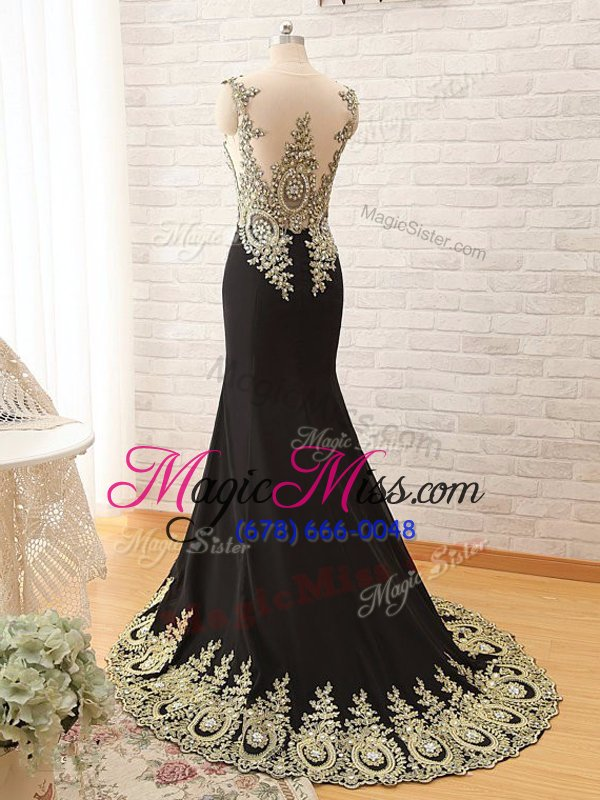 wholesale excellent scoop black mermaid appliques prom gown lace up elastic woven satin long sleeves with train