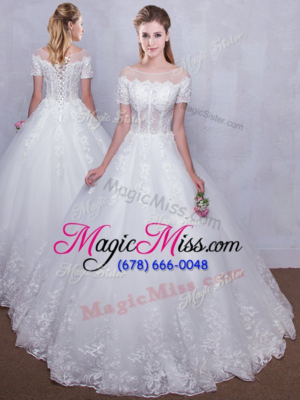 wholesale low price see through white wedding gown wedding party and for with lace scoop short sleeves lace up